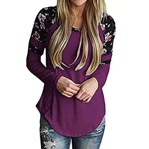 Rinalay pullover donna moda streetwear eleganti primaverile autunno manica lunga rotondo collo floreali cucitura felpa felpe casuale camicetta vintage (color : violett, size : s)