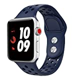 TiMOVO for Apple Watch Band, Silicone Replacement Sports Band + Watch Lugs for iWatch 42mm series 3/2 / 1, Large Size Midnight Blue (Not fit 38mm Versions)