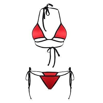 MPITUDE Women's Strappy Halter Bikini Bra Top and Tie Side G-String Lingerie Sets Swimwear