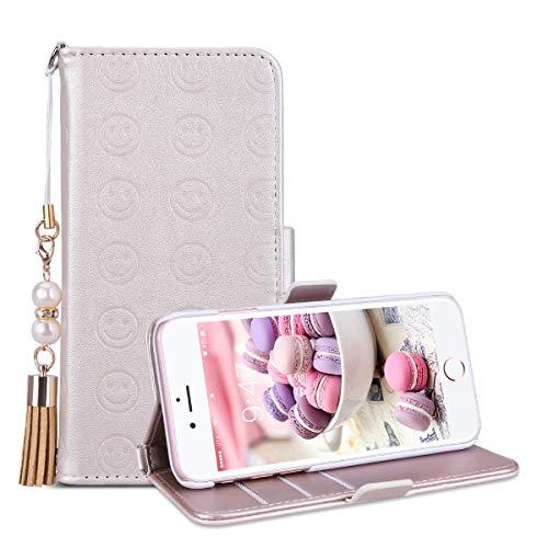 SmartLegend SMART Legend iPhone 7 Plus Hülle, iPhone 8 Plus Hülle, Handyhülle Schutzhülle Lederhülle PU Leder Flip Case Handy Tasche Schale mit kartenfach Magnet Standfunktion - Gold