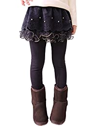 Juleya Leggings algodón de Las Muchachas - Gruesos Pantalones Calientes de los Cabritos de la caída del Invierno Danza Pantalones de los niños Edad 2-13 años Café Azul Marino Rose Rojo