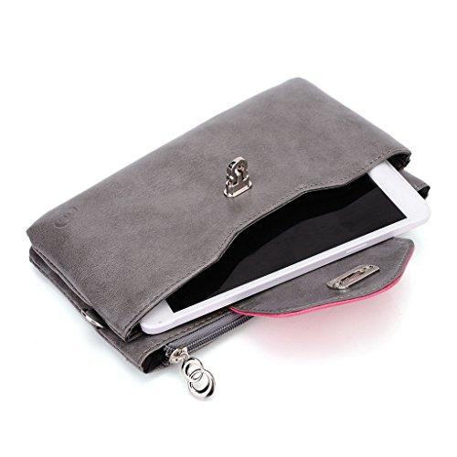 Kroo Pochette Portefeuille en Cuir de Femme avec Bracelet Étui pour Blu Studio 6.0LTE/Life View noir - Noir/gris Gris - Grey and Magenta
