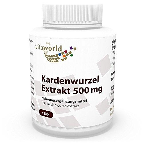 Vita World Kardenwurzel-Extrakt 500mg 100 Vegi Kapseln Apotheken Herstellung Karde