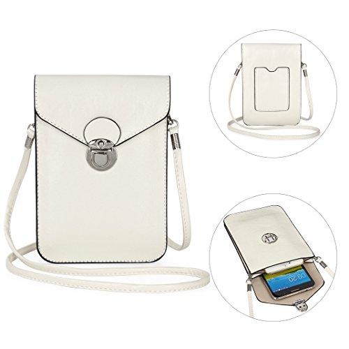Moon mood Handy Umhängetasche Weiß, 6.3 Zoll Premium PU Leder Ölhaut Doppelschicht Universal Handytasche zum Umhängen Geldbörse Kleine Tasche für Frauen Mädchen Kinder iPhone X 8 Plus 7 Plus 6 6S