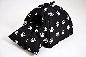 """nanook maison niche corbeille pour chat / chien """"Igloo"""" - Taille S – 34 x 34 x 30 cm, Design: noir avec pattes"""