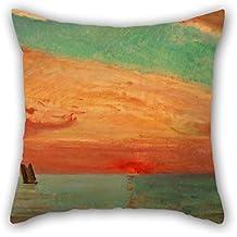 beautifulseason pintura al óleo Fujishima Takeji–Amanecer sobre el mar Oriental manta fundas de almohada de 20x 20pulgadas/50por 50cm regalo o decoración para parejas, oficina, diván, Boy Friend, ropa de cama, silla–tanto
