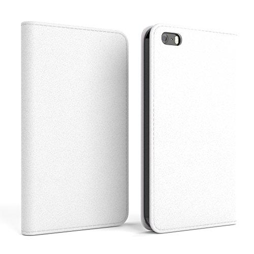 Apple iPhone SE / 5S / 5 Tasche, EAZY CASE Book-Style Case Metallic, Premium Handyhülle mit Kartenfach, Schutzhülle Geldbeutel mit Standfunktion, Wallet Case in Silber Metallic Weiß - Vintage