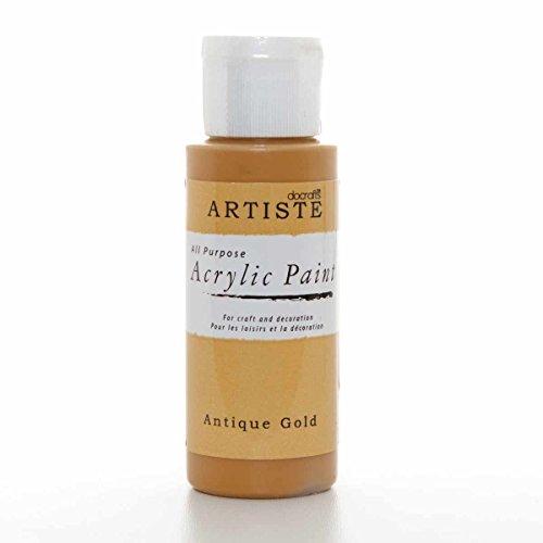 Artiste Docrafts hohe Qualität Acrylfarbe, Plastik, goldfarben antik-Optik, 3.4 x 3.4 x 9.9 cm