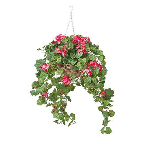 HOMESCAPES Hängende Künstliche Blume Geranie im Weidenkorb, Große Künstliche Hängepflanze im Weide Blumenampel mit Topf, Kette und Haken, Hängende Kunstpflanze im Hängeampel, rosa