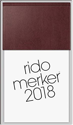 rido/idé 703500327 Tischkalender Merker, 1 Seite = 1 Tag, 108 x 201 mm, Miradur-Einband dunkelrot, Kalendarium 2018