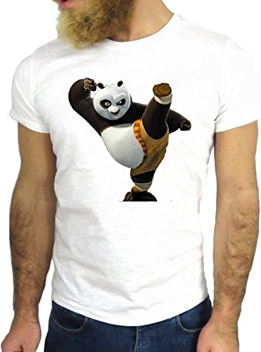 T-SHIRT JODE GGG24 HZ0191 PANDA FUN COOL VINTAGE ROCK FUNNY FASHION CARTOON NICE AMERICA BIANCA - WHITE