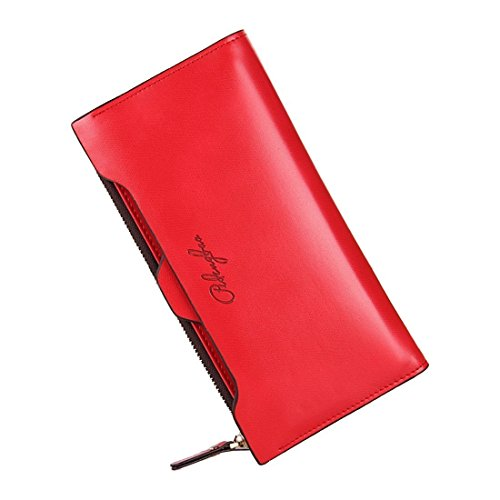 TOOGOO(R) Purse Women Female Long Thin Wallet With Zipper Coin Bag And Removable ID Card£¨Red£©