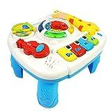 HERSITY Musikalische Lerntisch mit Lichtern Musik Aktivitätszentrum Spieltisch Kleinkinder Spielzeug