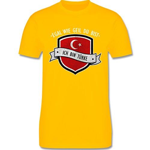 Shirtracer Länder - Egal wie Geil Du BIST - Ich Bin Türke - Herren T-Shirt Rundhals Gelb