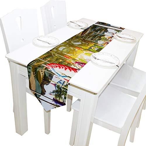 Yushg Karussell Holzpferde Kommode Schal Stoffbezug Tischläufer Tischdecke Tischset Küche Esszimmer Wohnzimmer Home Hochzeitsbankett Dekor Indoor 13x90 Zoll