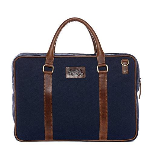 """SID & VAIN® Laptoptasche MARLOW - Unisex Notebooktasche groß Ledertasche fit für 15.4 """" Zoll 15 Laptop mit gepolstertem Gerätefach- Businesstasche Damen und Herren echt Leder blau-braun"""