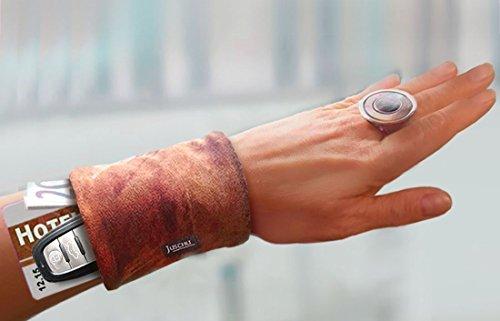Handgelenktasche Leder Look braun Armtasche Geldversteck Reißverschluss Geldbörse Pulstasche Lederband Lederarmband Ledertasche Armband- Lederrock Lederkleid Geschenkidee Geschenke Damen Frauen Herren Männer