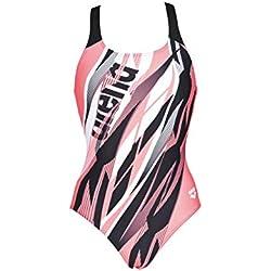 Arena W Swim Pro One Piece L Bañador Deportivo Mujer Zephiro, Black-Shiny Pink, 38