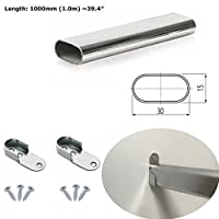 Oval Rail Wardrobe Polished Chrome Hanging Tube Metal Closet Organizer Cut to Size + END SUPPORTS and SCREWS by MKGT®