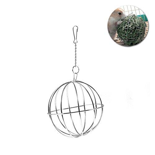 UEETEK 8cm a forma di palla erba Feeding palle per piccoli animali, acciaio inossidabile palla appesa feeder giocattoli, multifunzionale paglia telaio mangiatoia per criceto coniglio cincillà