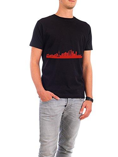 """Design T-Shirt Männer Continental Cotton """"SHANGHAI 03 Monochrom Tangerine"""" - stylisches Shirt Städte Städte / Shanghai Reise Reise / Asien von 44spaces Schwarz"""