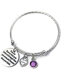 93082c31bba HITSAN INCORPORATION Love Heart Birthstone Charm Bracelets Bangles  Adjustable CZ Quote Bangle Inspiration Women Tiffan Jewelry