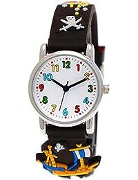 Pure Time® Kinder-Uhr Mädchen-Uhr für Kinder Jungen-Uhr Silikon-Kautschuk Armband-Uhr Uhr mit 3d Piraten Motiv Schwarz