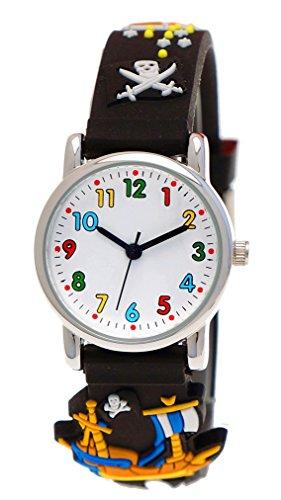 Pure Time® Kinder-Uhr Mädchen-Uhr für Kinder Jungen-Uhr Silikon-Kautschuk Armband-Uhr Uhr mit 3d Piraten Motiv (Geeignet Kostüme Spiderman Schwarz)