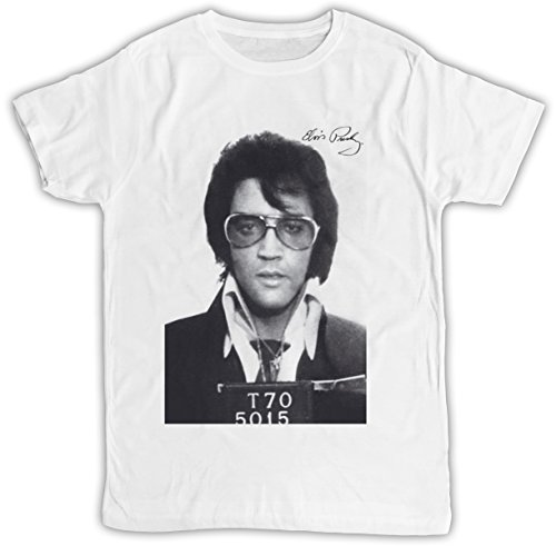 Mugshot T-shirt Elvis (Uk print king Elvis Presley Mugshot Prison Poster Cooler Spruch, Slogan, Lustiges Design, Geschenkidee)