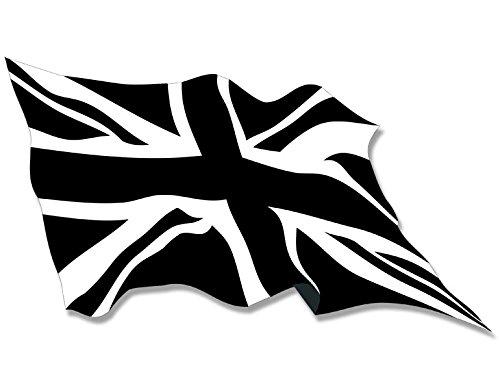 Waving Black Jack Flagge Aufkleber (Union UK Schwarz Weiß) (Union Black)