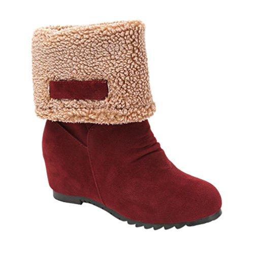 Stiefel Damen Flache Schuhe Sonnena Ankle Boots Frauen Knöchel Stiefel Warm Gefütterte Schneestiefel Wildleder Halbschaft Stiefel Winter Low-Heels Schuhe Outdoor Schuhe (39, Sexy Rot) (Wasserdicht Wildleder Keile)