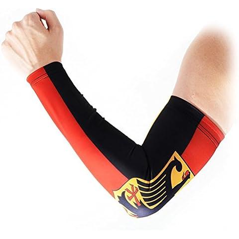 COOLOMG 1 pieza para niño para la práctica de dri-fit protección ultravioleta anti-slip manga de compresión para ciclismo de pelota de baloncesto Golf Germany Flag