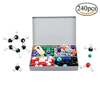 Molecular Model Kit,Auoker Organic & Inorganic Molecular Kit with Bonds, Links, Atoms for Home Science Tools Advanced Chemistry Kit, 122ps (240 pcs)