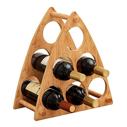 Minmin-jiuja Gummi Holz Dreieck Weinregal Dekoration Weinregal Massivholz Regal Sechs Flaschen...