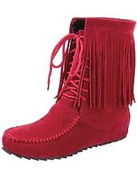 UH Damen Flache Stiefeletten Schnür Ankle Boots mit Fell und Fransen  Bequeme Warm Herbst Winter Schuhe adefdfad71