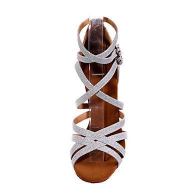 XIAMUO Nicht anpassbar - Die Frauen tanzen Schuhe funkelnden Glitter funkelnden Glitter Latein Sandalen entzündete Ferse Praxis/Innen-/PerformanceBlack/ Silber