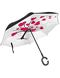 MUMIMI Paraguas invertido de doble capa resistente al viento, protección contra rayos UV, paraguas