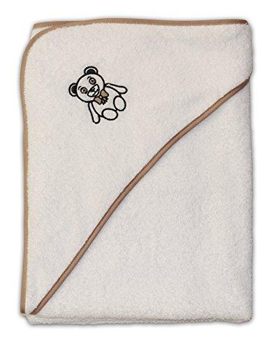 Premium MADE IN GERMANY Baby Badetuch mit Kapuze - 100% saugfähige Baumwolle (Walkfrottier) - mit süßem Teddy Stickmotiv für Mädchen und Jungen