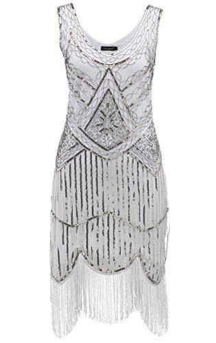 BABEYOND Frauen Art Deco V-Ausschnitt 20s Gatsby Fringed Sequin Flapper Kleid (Etikette S/ UK8-10/ EU36-38, Weiß)