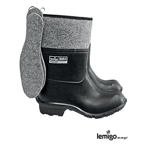 Lemigo leichte Filzstiefel 45 schwarz Winterstiefel Arbeitsstiefel Gummistiefel
