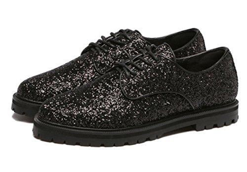 Scarpe casual britannico oro romantico Paillettes confortevole nuovo svago Primavera Estate Autunno donne YCMDM'S , black , 39