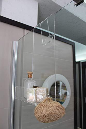Scheda dettagliata Agplex - Portasapone doccia in plexiglass con porta asciugamani -Mensola per doccia - Misure in cm 24x20xh45