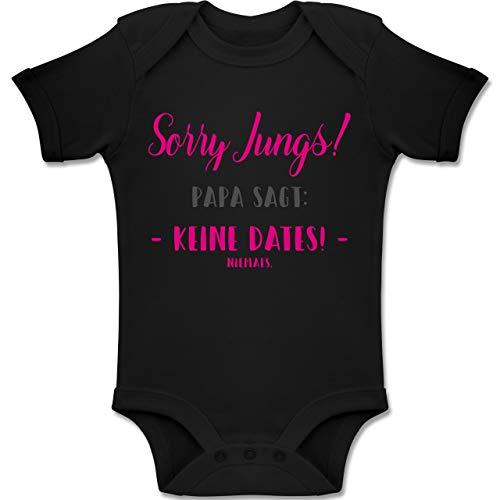 Shirtracer Sprüche Baby - Sorry Jungs Papa SAGT Keine Dates - 18-24 Monate - Schwarz - BZ10 - Baby Body Kurzarm Jungen Mädchen (Baby Kleidung Mein Daddy)