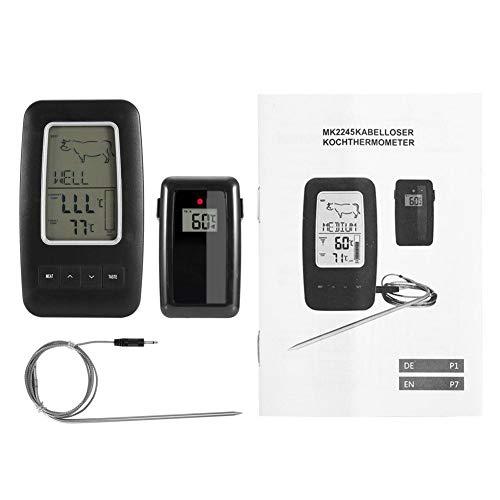 AUNMAS Fleischthermometer Digital LCD Küche Lange Sonde Thermometer mit Wireless Remote Temperatur Alarm für Küche BBQ Grill Raucher Fleisch Öl Milch Joghurt Temperatur