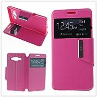 MISEMIYA - Coque Étui pour Samsung Galaxy A5 2016 (A510F) - Étui + Protecteur Verre Trempé, COVER-VIEW avec support,Pink