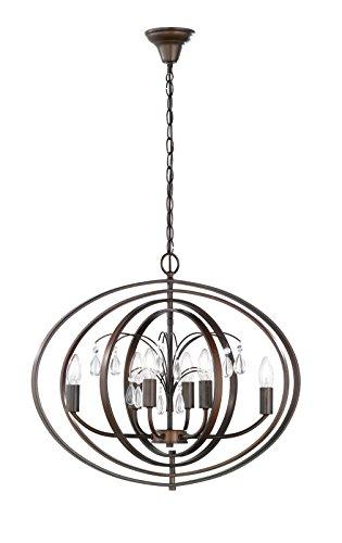 Pendelleuchte Rostfarbig antik Glasbehang klar 6-flammig 69504 Deckenleuchte Spot Design Lampe...