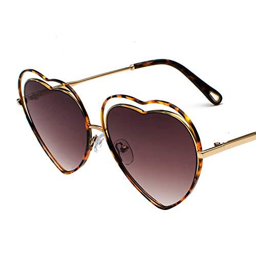 Z&HA Sonnenbrille Für Frauen Heart-Shaped Hohl Love Retro-Stil Brille Anti-UV400,Brown