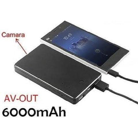 agente007–Power Bank Externer Akku Spionage mit versteckter Kamera FULL HD 1080p Bewegung 6000mAh Erkennung AV Ausgang TV