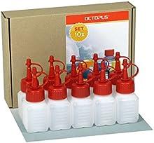 10 Octopus botellas de plástico de 50 ml, botellas de plástico de HDPE con cuentagotas o gotero rojo, p. ej. para e-líquidos / cigarrillos electrónicos, resistentes a los químicos