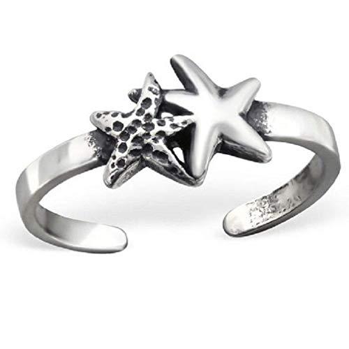 Plata de Ley Estrella De Mar Triple anillo para dedo del pie.